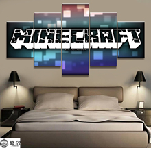 Canvas Printed Game Poster Minecraft 5 Pieces Wall Art Canvas Painting Home Decor For Living Room Artwork Cuadros Wall Decor Art цена