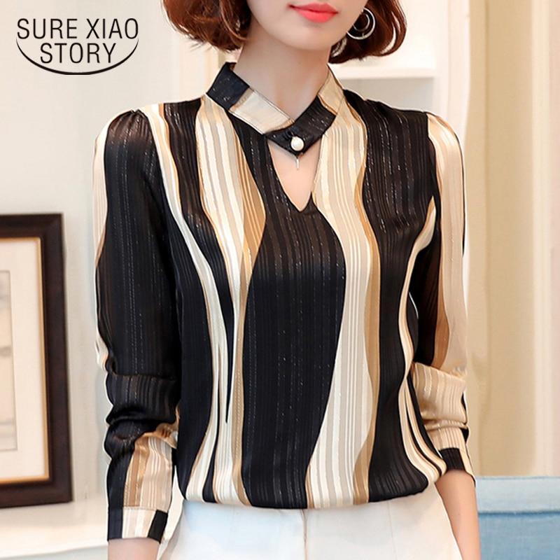 Plus Size Tops Women Blouse Fashion Woman Blouses 2018 Office Striped Shirt Chiffon Blouse Shirt Long Sleeve Women Shirts Z06 60