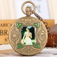 Souvenir Gifts Elegant Beauty Arts Image Retro Mechanical Pocket Watch Tourbillon Hand Winding Luxury Pure Copper Chain Watches