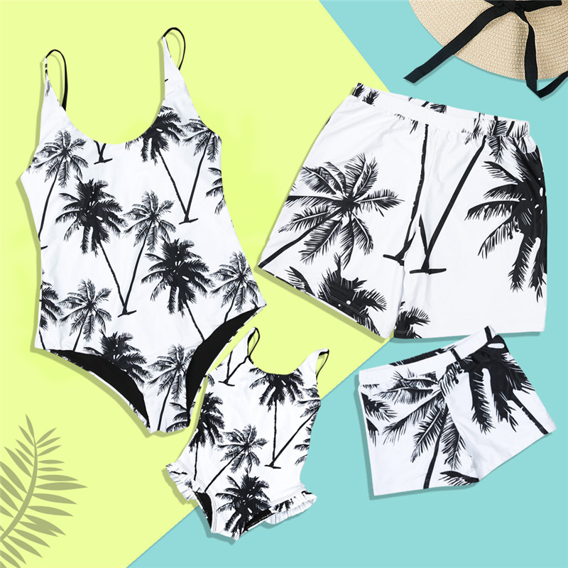 Family Swimwear Mother Daughter Matching Women Kid One Piece Palm Tree Swimsuit Men Boys Print Short Pants Bathing Suit 2019 New