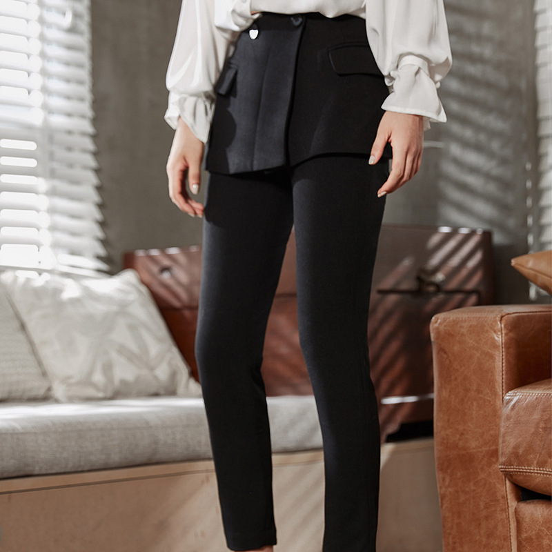 DEAT 2018 new fashion women korean bottom wearing poacket patchwork pencil pants flat high quality ankle