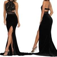 Sexy Women Sleeveless Summer Dress Halter Neck Lace Crochet Evening Maxi Long Dress Backless Party Dresses Vestidos De Fiesta