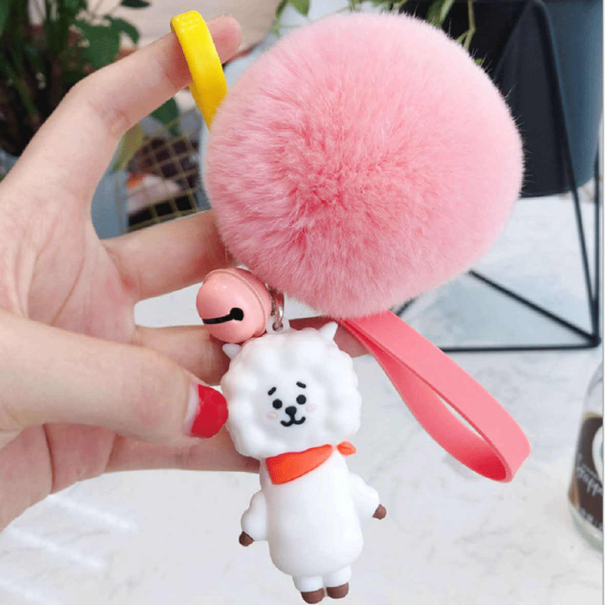 Cute Rabbit Fur Fluffy Pompom Ball Handbag Car Pendant Charm Key Chain Keyring