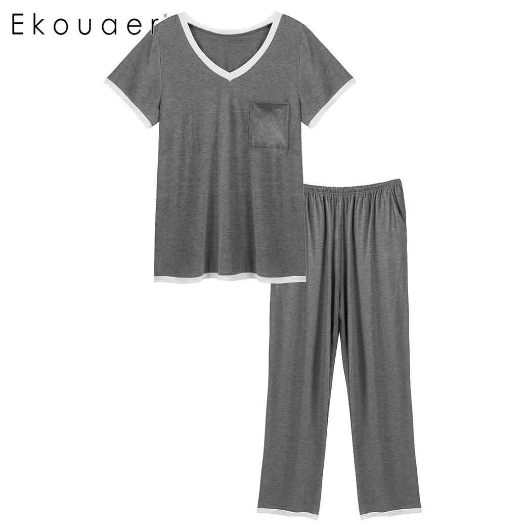 Ekouaer   Pajamas     Sets   For women Short Sleeve Patchwork Tops Long Pants Rayon Two Pieces Pyjamas Lingerie Homewear