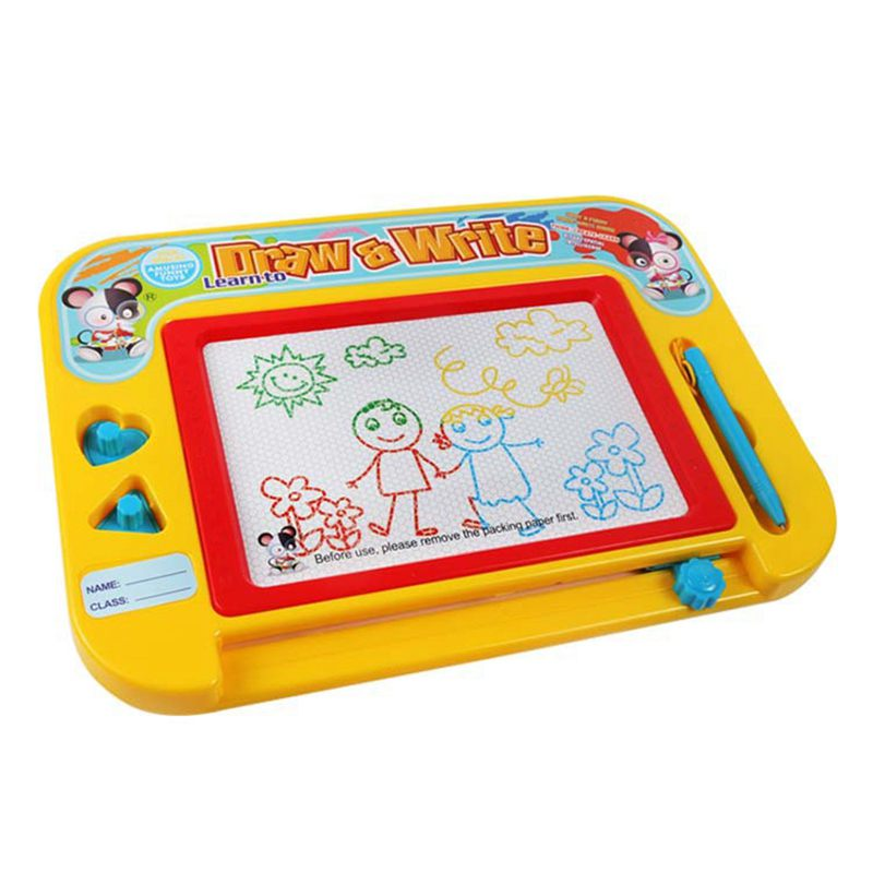 Magnetic Drawing Board For Kids & Toddlers With Stamps - Erasable Colorful Doodle Sketch Board & Pen, Preschool Learning And E