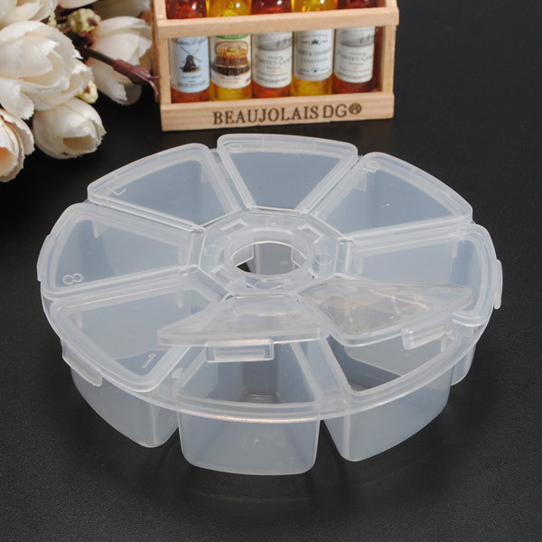 8 Compartments Circular Plastic Jewelry Troche Nail Tips Storage Box Refillable Bottles Skin Care Tool Accessories