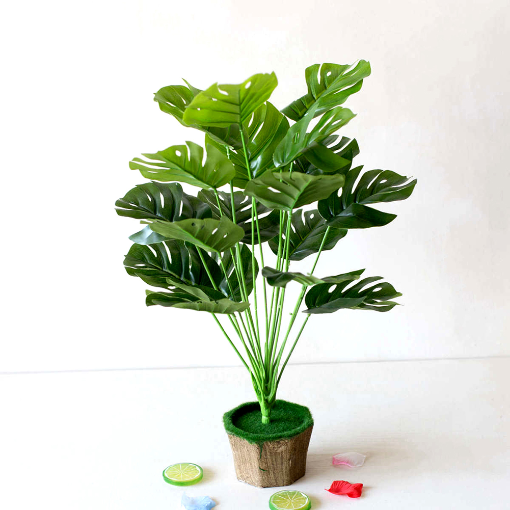 1 Bouquet/18 Leaves Artificial Silk Palm Monstera Leaves Plant For Hawaii Party Decor Plastic Leaf Beach Wedding DIY Table Decor