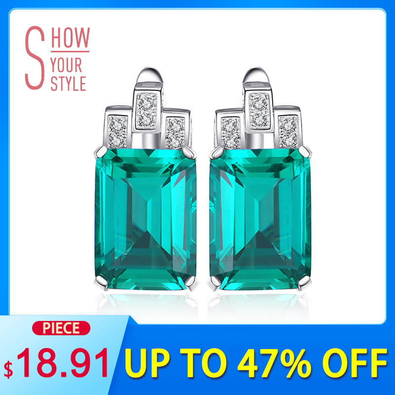 JewelryPalace Luxury 7.6ct Nano Russian Simulated Emerald 925 Sterling Silver Earrings klip Hadiah Untuk Jualan Panas Wanita