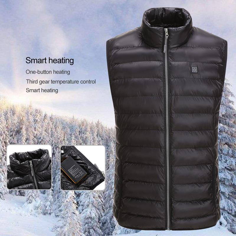 3XL 4XL 5XL Plus Size USB Electric Heated Vest Outdoor Riding Skiing Fishing Waterproof Charging Warm Winter Heating Jacket 2018