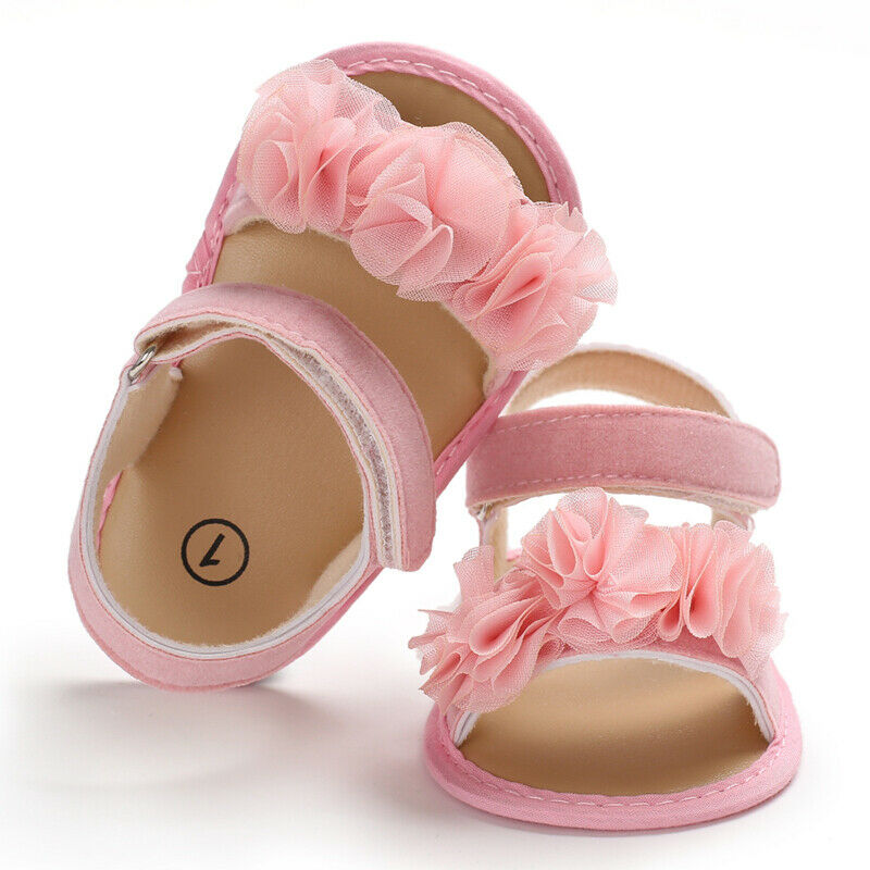 Summer 2019 New Infant Newborn Baby Girls Shoes Lace Flower Toddlers Sandals Cute Beach Shoes