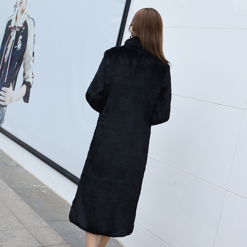 Cuir Veste D'hiver De Nouvelles Fourrure black Long 18 Manteau Femmes En Red Daim Col Lapin Pur qP0nxCnF