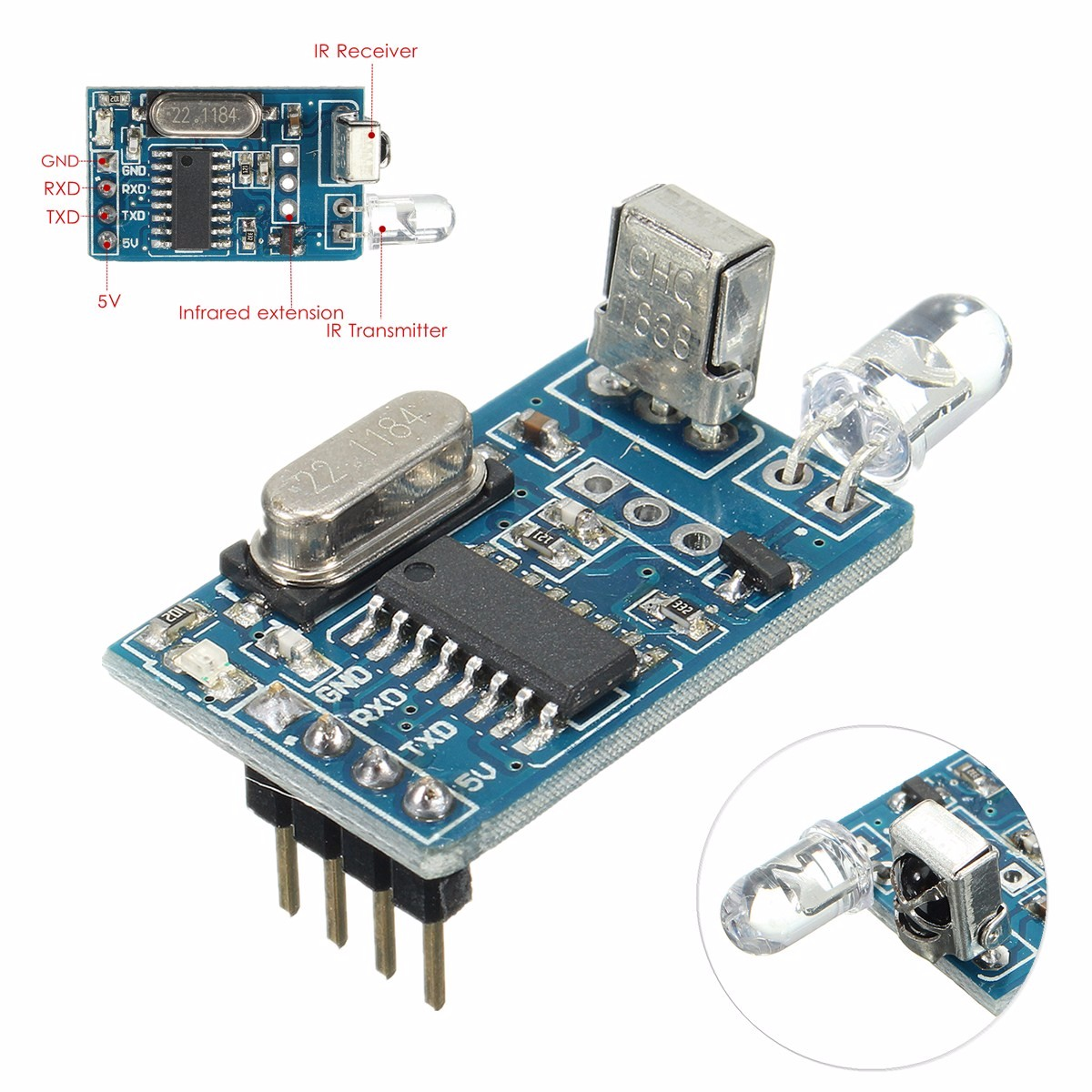 LEORY Wireless Transmitter Receiver Module IR Infrared Remote Decoder Encoding Integrated Circuits Modules Boards DIY