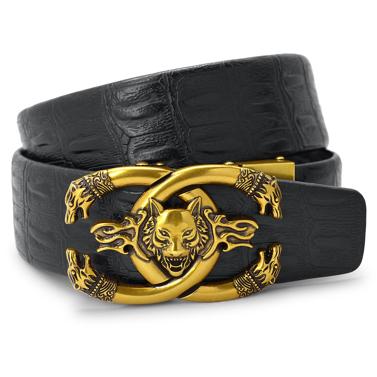 Wolves Head Fashion Leather Men/'s Waist PU Buckle Waistband Belts Strap