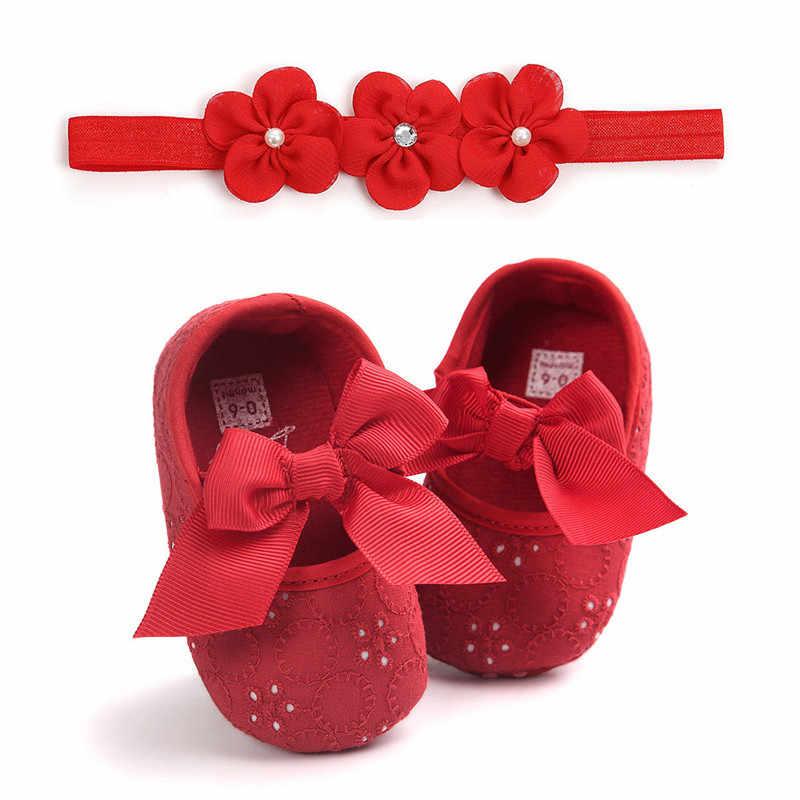 Bé Sơ Sinh Toddler Cô Gái quần áo Prewalker Chống-trượt bow Hình Học Sneakers Mềm Giày Hoa Headband 2 pc bông trẻ em trang phục