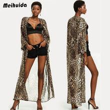 0a789df3d24d7 hirigin Women Chiffon Leopard Print Kimono Blouse Coat Boho Floral Cardigan  Jacket