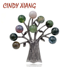 CINDY XIANG Stone Tree Brooches for Women Elegant Vintage Brooch Pin Suit Accessories 3 Colors Choose High Quality New 2018 Gift