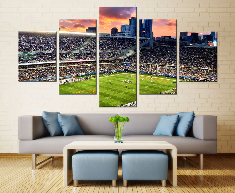 5 Pieces Chicago Bears Stadium Modern Home Wall Decor Painting Canvas Art HD Print Picture For