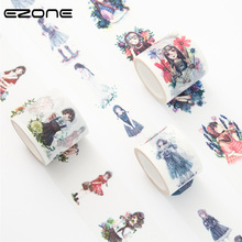 Купить с кэшбэком EZONE 1PC 3Style Masking Tapes Beauty girl series Washi Tape DIY Scrapbooking Handbook Decor Sticker Stationery School Supplies