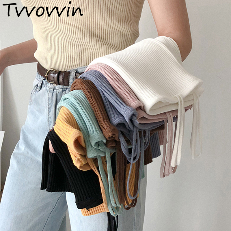 2019Autumn Winter Bottoming   Tops   Undershirts Solid Color Sexy Casual Camis Sling   Tank     Tops   Knitting Elasticity Fashion Vest Q901