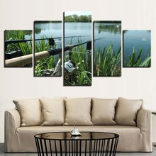 Modular Canvas HD Prints Paintings Home Decor 5 Pieces Fishing Rod Pictures Lake Fishing Posters Living Room Wall Art Framework canvas home decor painting frame modular fishing rod pictures hd prints 5 pieces fishing fish poster living room wall art