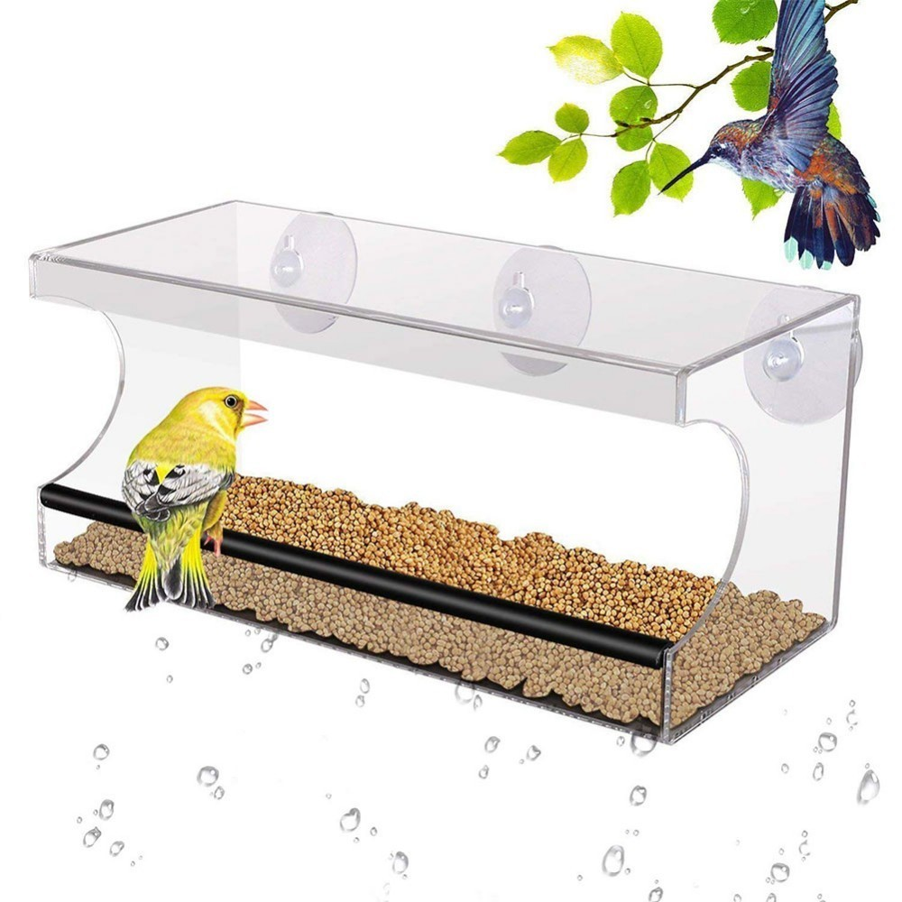 Acrylic Crystal Clear Large Window Bird Feeder with 3 Powerful Suction Cups with Removable Tray Drain Holes Window Bird Feeder