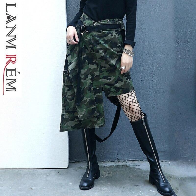 LANMREM กระโปรงฤดูใบไม้ผลิฤดูร้อน 2019 ใหม่กระโปรง Denim ไม่สม่ำเสมอ Camouflage บุคลิกภาพแฟชั่นหญิงกางเกง YG38506-ใน กระโปรง จาก เสื้อผ้าสตรี บน   1