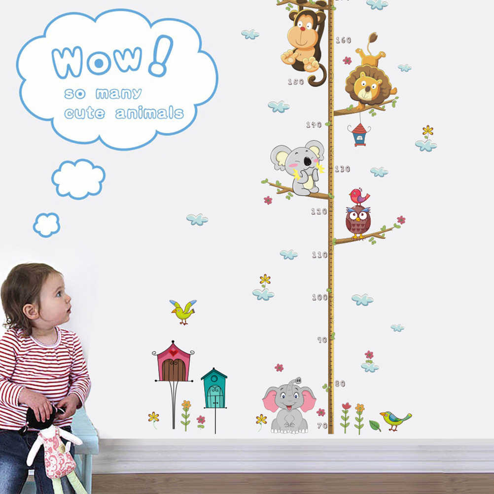 1PC Height Measurement Stickers Removable Zoo Animal Cartoon Wall Decal Wall Sticker for Kindergarten Kids Room School