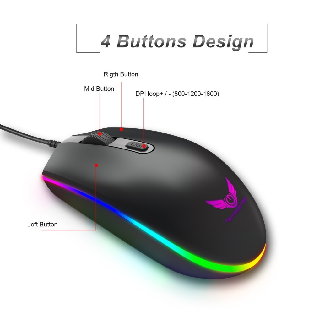 Image 3 - Optical USB Wired Gaming Mouse 1600DPI Mini Mice RGB Colorful Lights Wired Mouse For Laptop PC Computer Business Office Gamer-in Mice from Computer & Office
