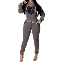 Womens Long Sleeves Sequined Sets Coats Pants Casual Club Party Sportswear Tracksuit Jumpsuit 2pcs Hooded Spring Pullover Jacket