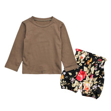 newborn baby toddler sets casual outfit clothes o neck long sleeved tops pants hats 3pcs set baby clothes for boys and girls Newborn Baby Kids Sets  Outfit Clothes O-Neck Long-sleeved Tops+Short Floral Pants 2Pcs Set Baby Clothes With Quality Assurance