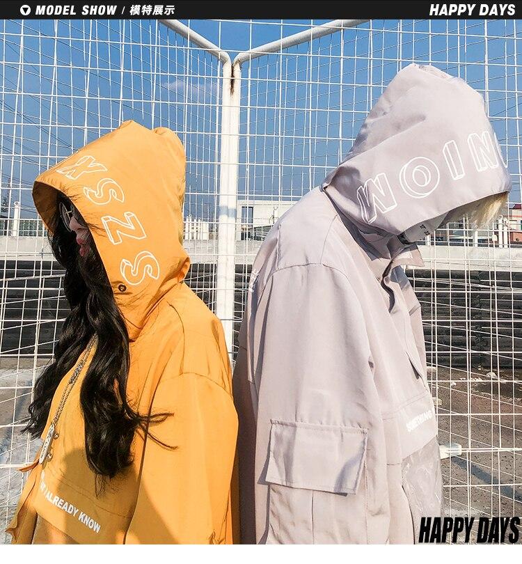 2018 Herbst Mode Männer Und Frauen Transparent Tasche Mit Kapuze Jacke Plus Größe Liebhaber Modis Oversize Windjacke