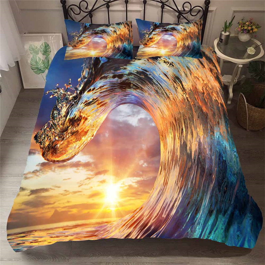 Bedding Set 3D Printed Duvet Cover Bed Set Sea Wave Tree Home Textiles For Adults Lifelike Bedclothes With Pillowcase HL15