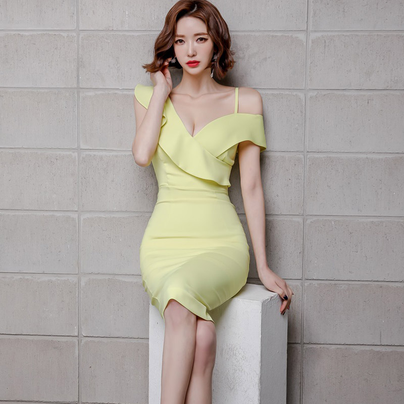 Mujeres verano nuevo desgaste temperamento coreano solido con cuello en V sexy un hombro paquete cadera natural sexy poliéster rodilla-leng vestido - 4