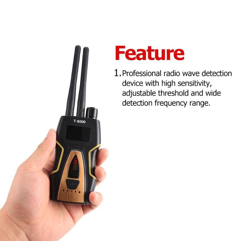 T-8000 Wireless Dual Antenna RF Signal Anti Candid Camera Detector Detector GSM Audio Finder GPS Scan Anti Bug Camera Detector