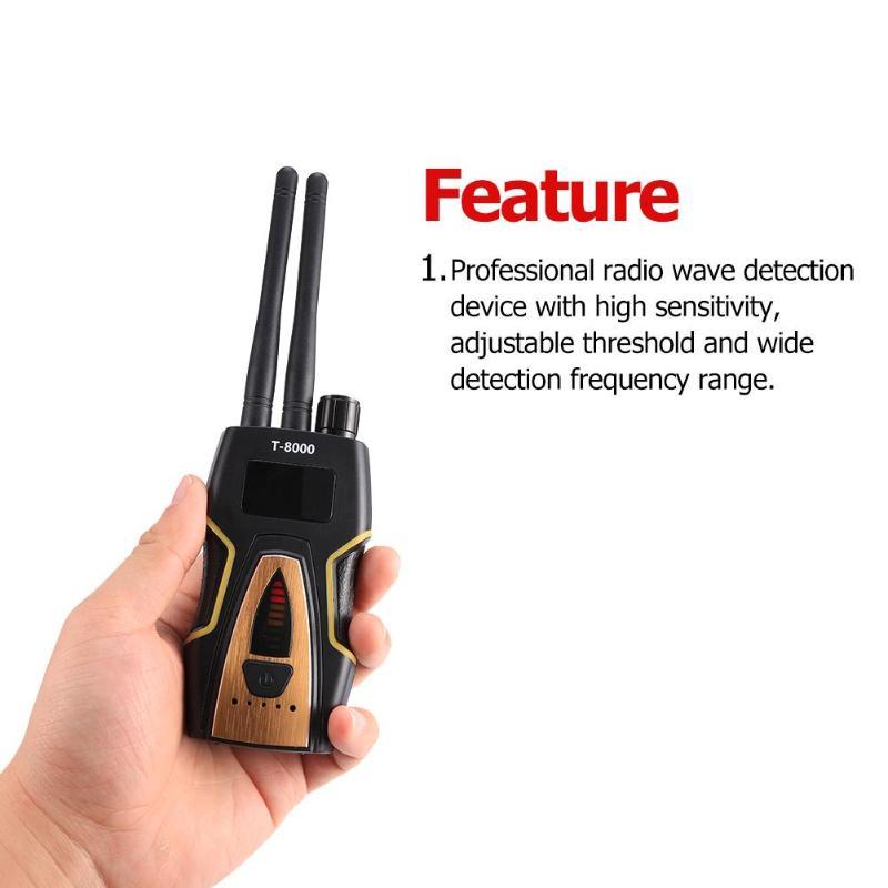T-8000 sans fil double antenne RF Signal Anti-candide caméra détecteur détecteur GSM Audio Finder GPS Scan Anti-Bug caméra détecteur