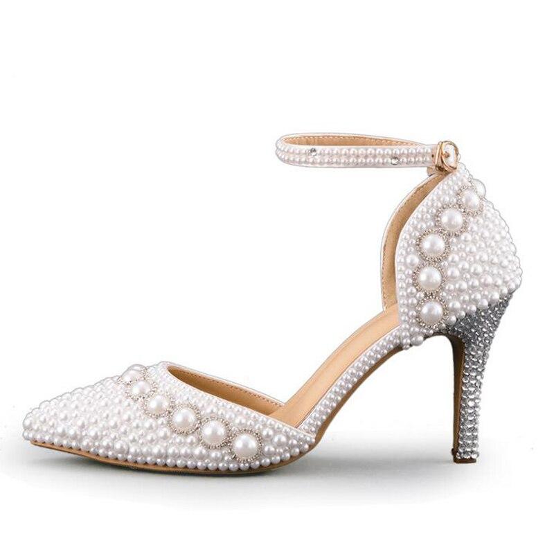 e819d3ebf2b673 Et Sandales Mariage Bretelles Perle Blanc Magnifique Rouge Pink Pointu  Chaussures Soirée white red Heels Avec ...