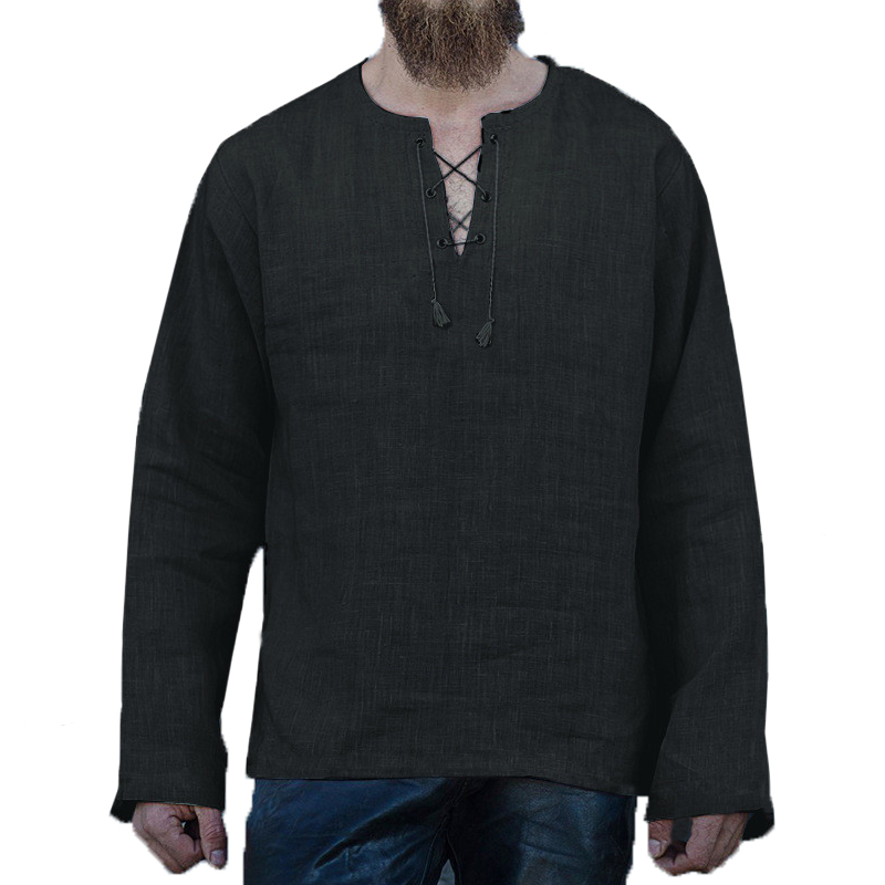 Autumn Mens Long Sleeve T Shirts Dress Lace Up V Neck Casual Loose Male Tee Tops Camisa Masculina Tunic Middle East Man Clothes