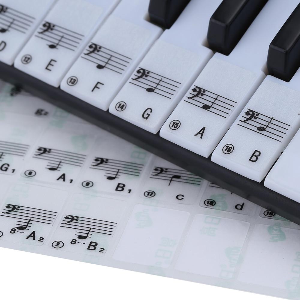 Transparent 49 61 touches clavier électronique 88 touches Piano Stave Note autocollant pour touches blanches