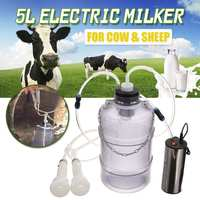 5L 24W Electric Milking Machine Cow Goat Sheep Milker Thickening Tank Double Heads Silicone Hose With Restriction Valve