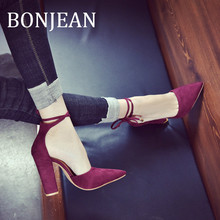 BONJEAN 2019 Summer Shoes Pointed Toe High Heel Shoes for Women Ankle Strap Sandals Ladies Square Heel Wine Red Shoes BJ1302 все цены
