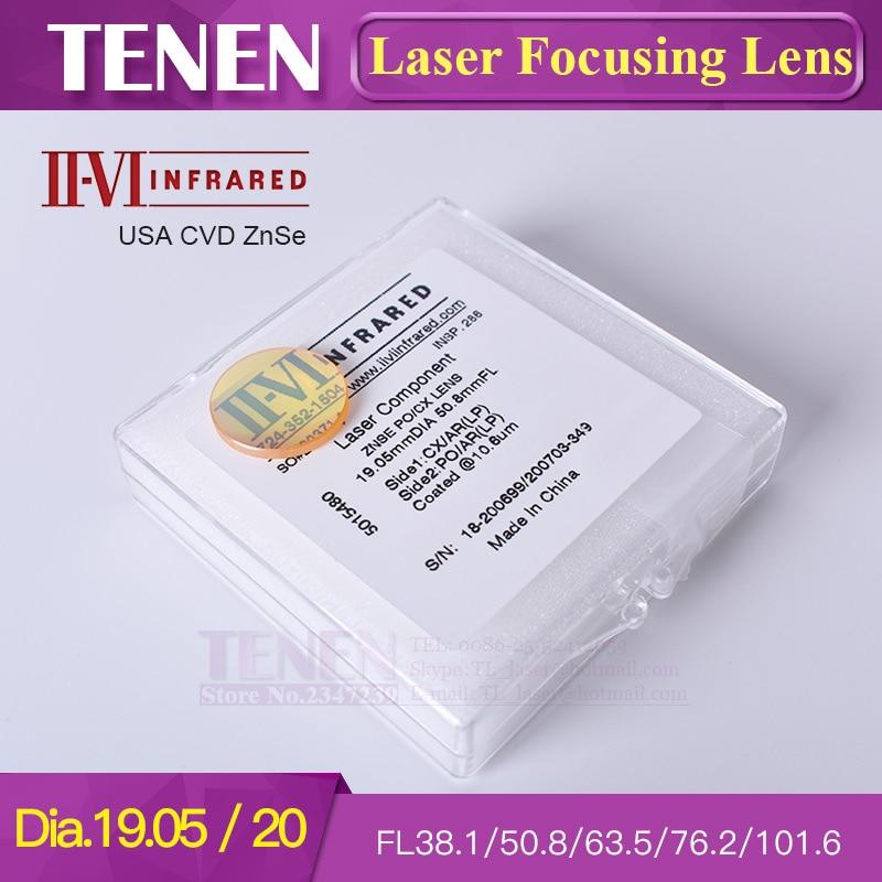II VI INFRARED USA CVD ZnSe Focus Lens Dia.19.05mm 20mm Focal Length 38.1 50.8 63.5 76.2 101.6 mm For CO2 Laser Cutting Machine