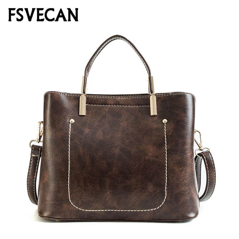 Women Leather Handbags Vintage Bucket Shoulder Bag Elegant Ladies Messenger Bags Sac a Main Femme De Marque Luxe Cuir 2018