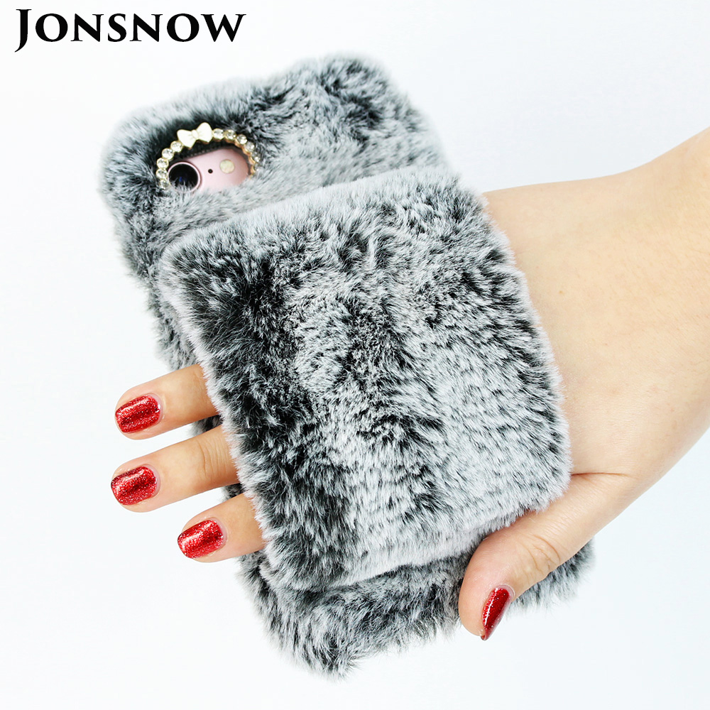 Plush Hand Warmer Soft Case For iPhone XS XR Phone Cover for iPhone 6S 7 8 Plus XS Max Hairy Warm Winter Bling Rhinestone Cases