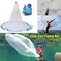 Bobing New Hot 3/4.2/5.4/6.6 Meter Hand Cast Fishing Net Spin Network Bait Catch Fish Net Sinker 10FT 22FT Monofilament Mesh Net