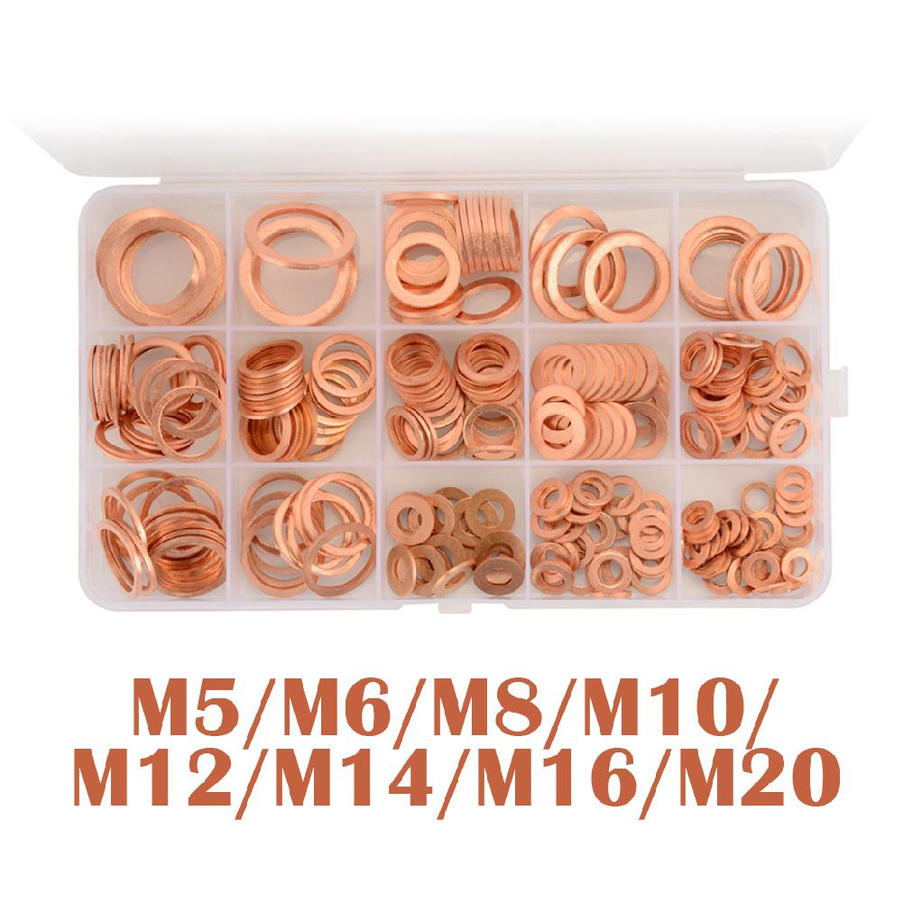 Adeeing 280Pcs M5-M20 Copper Compression Washers Metric Oil Drain Plug Crush Washer with Box