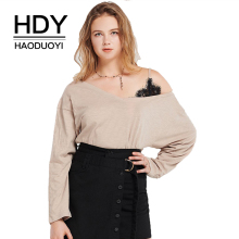 HDY haoduoyi Simple Sexy Commute Top Asymmetrical Strapless Shoulder Lace Stitching Long Sleeve Sweatshirt