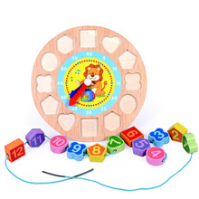 Digital Color Clock Wood Watch Jigsaw Wooden Cognitive Toys Cartoon Animal Threading Block Assembly Math Learning Kids