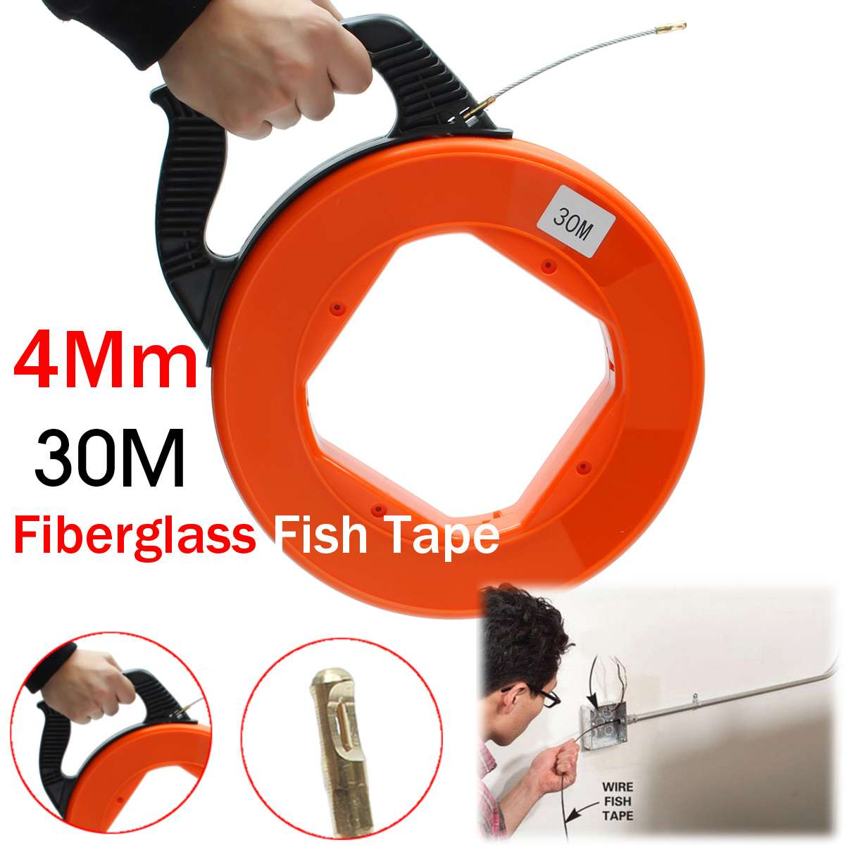 4mm Portable 30 Meter Fiberglass Fish Tape Fishing Tool Reel Puller Conduit Duct Rodder Pulling Wire Cable4mm Portable 30 Meter Fiberglass Fish Tape Fishing Tool Reel Puller Conduit Duct Rodder Pulling Wire Cable