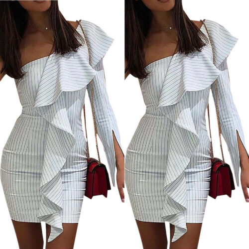 USA Sexy Women One Shoulder Bodycon Evening Party Pencil Dress Elegant Lotus Leaf Stretch Mini Club Dress 2019 New Arrival in Dresses from Women 39 s Clothing