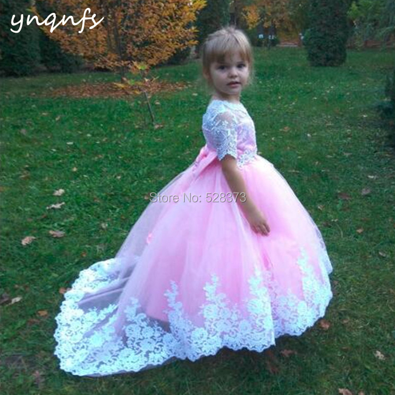 YNQNFS G14 Bow Back Ball Gown White Pink Princess   Flower     Girl     Dresses   Baby Kids Pageant Birthday Party Photography